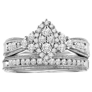 Cambridge Sterling Silver 5/8ct TDW Marquise 2-Piece Diamond Bridal Set