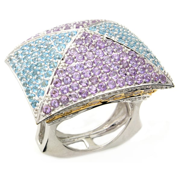Beverly Hills Charm Silver Blue Topaz, Amethyst and 1/2ct TDW Diamond Ring (H-I, I2-I3)
