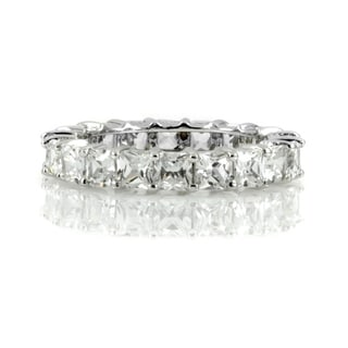 Sterling Silver Princess-cut Cubic Zirconia Stackable Eternity Band