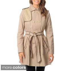Betsey Johnson Women's Coated Cotton Double Breasted Trench Coat