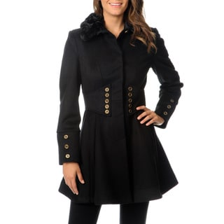 Betsey Johnson Women's Wool Fit and Flare Coat