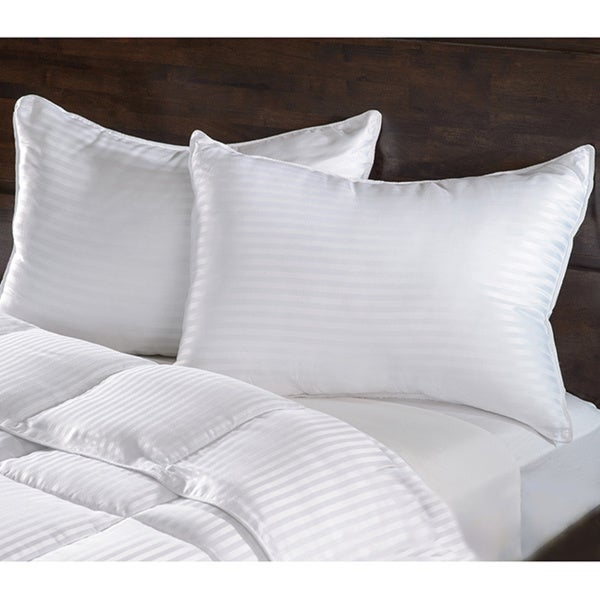 Superior Luxurious Down Alternative Striped Pillows (Set of 2)