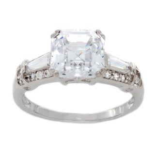 NEXTE Jewelry Sterling Silver Asscher-cut Cubic Zirconia Engagement-style Ring
