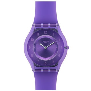 Swatch Women's Skin SFV107 Purple Rubber Quartz Watch with Purple Dial