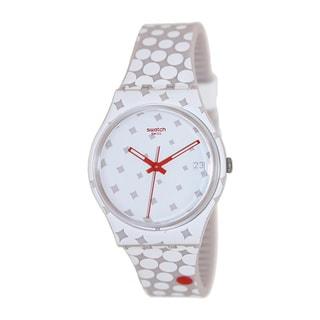 Swatch Men's Originals GZ412 Two-Tone Silicone Swiss Quartz Watch with White Dial