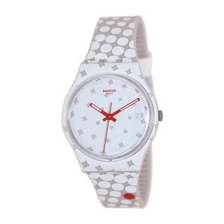 Swatch Men's Originals GZ412 Two-Tone Silicone Swiss Quartz Watch with White Dial