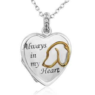 Tender Voices Sterling Silver with Yellow Gold Plate 'Always in my Heart' Locket Diamond Accent