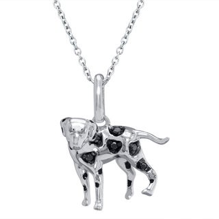 Tender Voices Sterling Silver Diamond Accent Black Dalmatian Dog Pendant