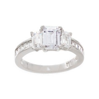 Link to NEXTE Jewelry Sterling Silver Emerald-cut Cubic Zirconia Engagement-style Ring Similar Items in Rings