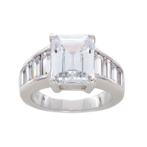 NEXTE Jewelry Sterling Silver Emerald-cut Cubic Zirconia Ring