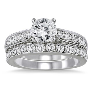 Marquee Jewels 14K White Gold 2 1/ 2ct TDW Round Diamond Bridal Set (3 options available)