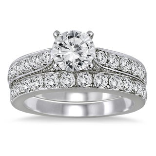 Marquee Jewels 14K White Gold 2 1/ 2ct TDW Round Diamond Bridal Set