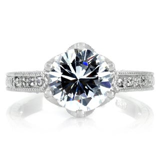 Sterling Silver White Round-cut Cubic Zirconia Engagement-style Ring