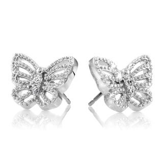 Sterling Silver Pave-set Cubic Zirconia Butterfly Earrings