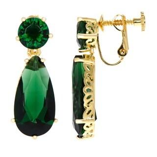 Celebrity Women's Brass Simulated Emerald Pear Drop Clip-on Earrings