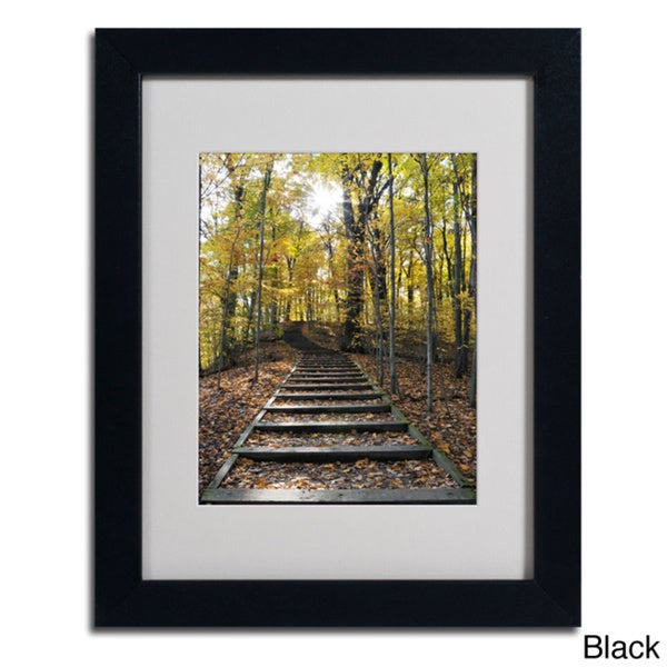Kurt Shaffer Fall Stairway 2 Framed Matted Art Free