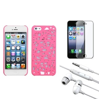 INSTEN Clear Screen Protector/ Headset/ Bird's Nest Phone Case for Apple iPhone 5/ 5C/ 5S/ SE