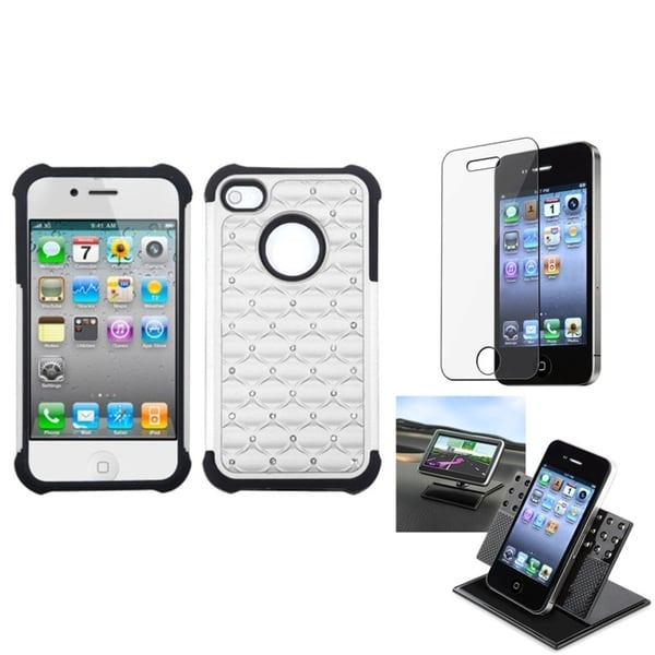 INSTEN Car Dashboard Holder/ TotalDefense Phone Case Cover for Apple iPhone 4/ 4S