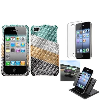 INSTEN Car Dashboard Holder/ Diamante Phone Case Cover for Apple iPhone 4/ 4S