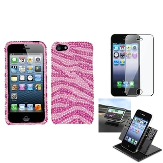 INSTEN Car Dashboard Holder/ Diamante Phone Case for Apple iPhone 5/ 5S/ SE