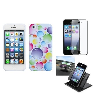 INSTEN Car Dashboard Holder/ Rainbow Bubbles Phone Case for Apple iPhone 5/ 5S/ SE