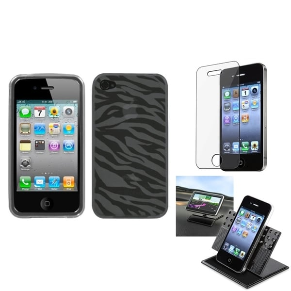 INSTEN Car Dashboard Holder/ Candy Skin Phone Case Cover for Apple iPhone 4/ 4S