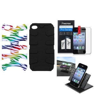 INSTEN Car Dashboard Swivel Phone Holder/ Fishbone Phone Cover/ Reusable Screen Protector Film for Apple iPhone 4/ 4S