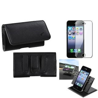 INSTEN Clear Screen Protector/ Textured Horizontal Pouch for Apple iPhone 5/ 5C/ 5S/ SE