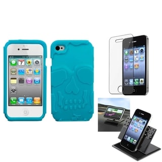 INSTEN Clear Screen Protector/ Skullcap Hybrid Phone Case Cover for Apple iPhone 4/ 4S