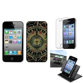 INSTEN Car Dashboard Holder/ Star Compass Phone Case Cover for Apple iPhone 4/ 4S