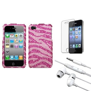 INSTEN Clear Screen Protector/ Headset/ Diamante Phone Case Cover for Apple iPhone 4S