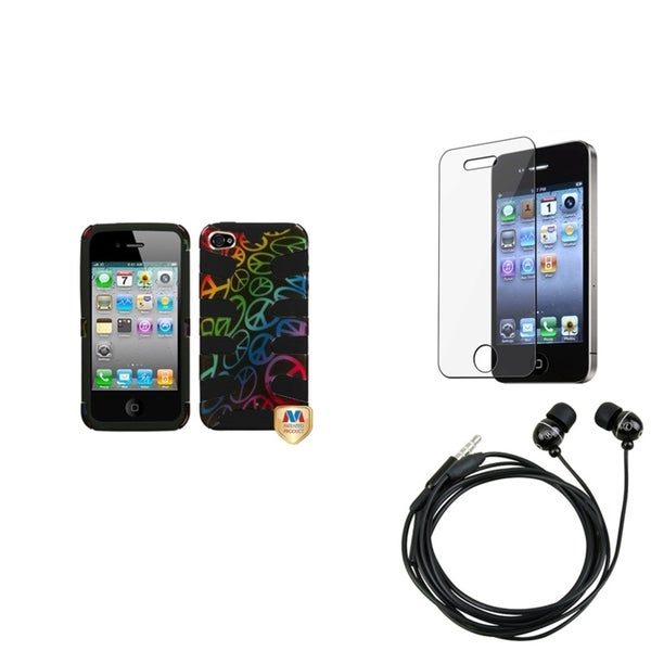 BasAcc Screen Protector/ Headset/ Fishbone Case for Apple® iPhone 4S