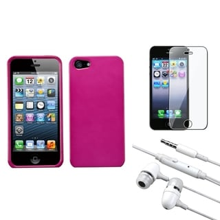 INSTEN Clear Screen Protector/ Headset/ Hot Pink Phone Case for Apple iPhone 5/ 5C/ 5S/ SE
