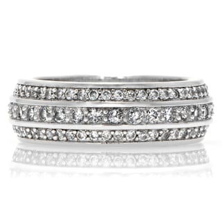 Sterling Silver 3-row Cubic Zirconia Eternity Ring