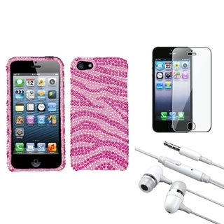 INSTEN Clear Screen Protector/ Headset/ Diamante Phone Case for Apple iPhone 5/ 5C/ 5S/ SE