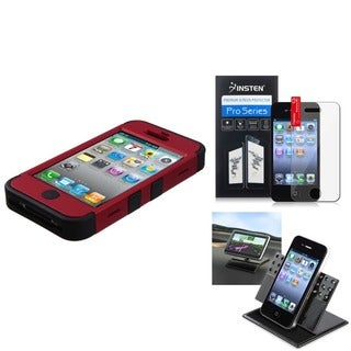 INSTEN Car Dashboard 360-degree Swivel Holder/ TUFF Hybrid Phone Case/ Reusable Screen Protector for Apple iPhone 4/ 4S