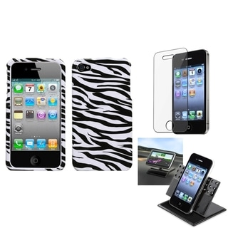 INSTEN Car Dashboard Holder/ Zebra Skin Phone Case Cover for Apple iPhone 4/ 4S