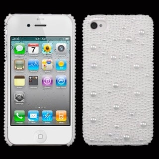 INSTEN White Pearl Diamante Back Phone Case Cover for Apple iPhone 4S/ 4