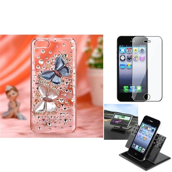 INSTEN Car Dashboard Holder/ 3D Diamante Phone Case Cover for Apple iPhone 5