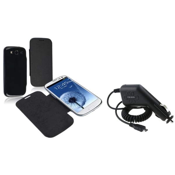 BasAcc Leather Case/ Car Charger for Samsung Galaxy S3