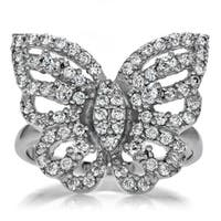 Celebrity Sterling Silver Pave-set Round-cut Cubic Zirconia Butterfly Ring