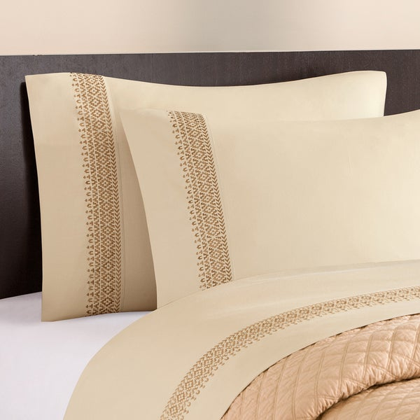 Artology 'Sari' 300 Thread Count Almond Buff Embroidered Sheet Set
