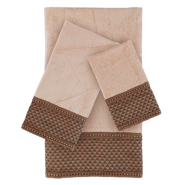 Sherry Kline Amore Wheat Brown Embellished 3-piece Towel Set