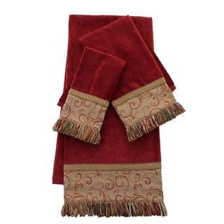 Sherry Kline Red Swirled Paisley Embellished 3-piece Towel Set