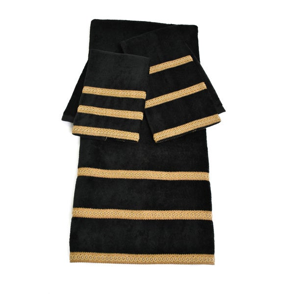 Shop Sherry Kline Black Triple Row 3 Piece Towel Set