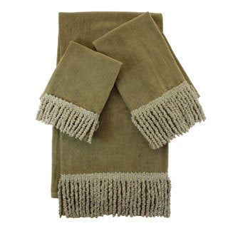 sherry kline sage green fringed 3piece towel set - Fingertip Towels