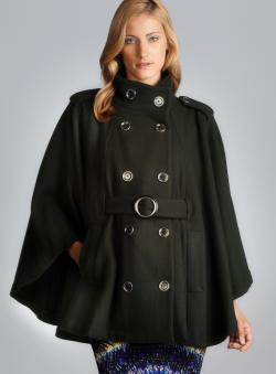 Rachel Zoe Candice Funnel Neck Double Breasted Cape
