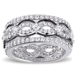 Miadora Sterling Silver Princess-cut Cubic Zirconia Ring