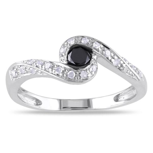 Miadora Silver 1/4ct TDW Black and White Diamond Ring