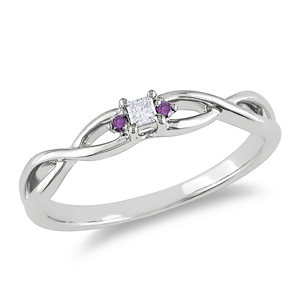 10k White Gold Pink Diamond Accent Promise Ring